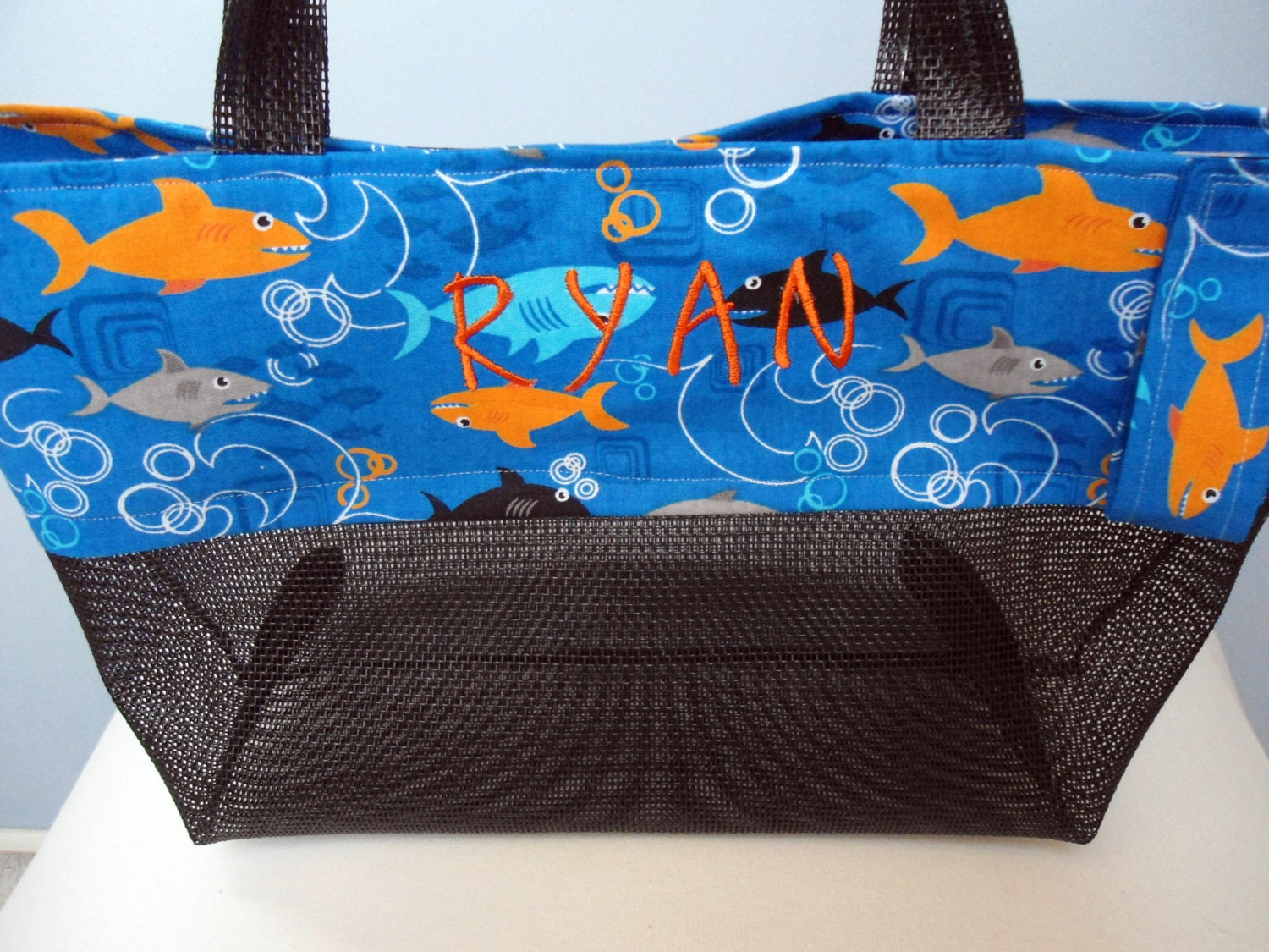Kids Beach Tote Bag Sharks Fish Personalize With Black Mesh