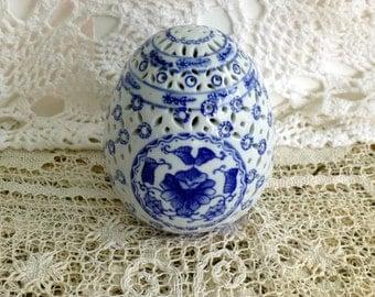 """Porcelain """"Rice Grain"""" Blue & White Egg"""