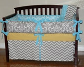 Gray  Damask /   Aqua Blue  Damask / Gray Chevron, Yellow, 3pc Bedding Set