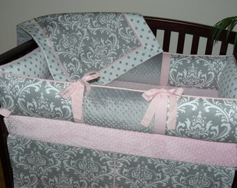 Light Baby Pink , Gray , Damask , Polka Dot,  3-4pc Crib  Bedding Set.