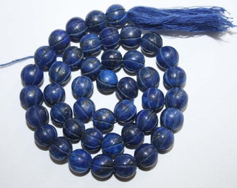 Natural AAA Quality Lapis Carving 8 to 9mm Smooth Round Gemstone Beads 13 Inches RD082