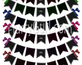 6 Printable Banner digital Banner flag Banner flag clip art bunting banner clip art pink red green blue pruple banner digital