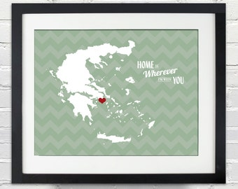 Home Is Wherever I'm With You - State or Country w/ chevron background