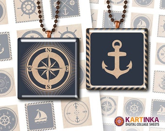 1 inch 1.5 inch 0.75x0.83 inch 16mm Tiles NAUTICAL Printables for Pendants Bezel trays Magnets Paper craft Download Images Print it yourself