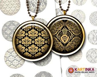 1 inch & 1.5 inch Printable Download DAMASK PATTERNS digital images for Round pendants Bezel trays Glass cabochons Crafts Bottle caps Crafts
