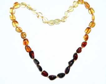 Rainbow color leaves beads Baltic amber teething necklace for your baby 29v
