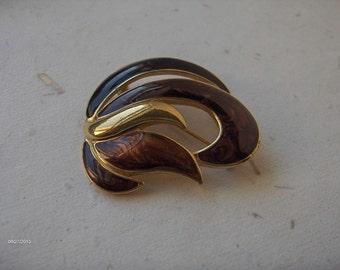 Trifari enamel brooch  Signed Trifari TM   Vintage Trifari   Fall Colors