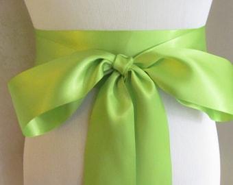 Apple Green Satin Ribbon Sash / Ribbon Sash / Satin Bridal Sash /  bridesmaid Sash /