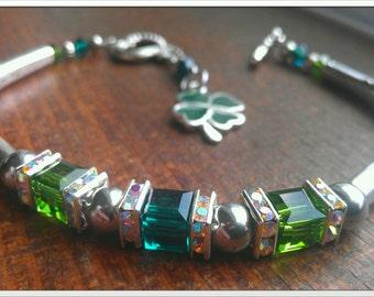 St.Patricks Day Bracelet with four leaf clover charm