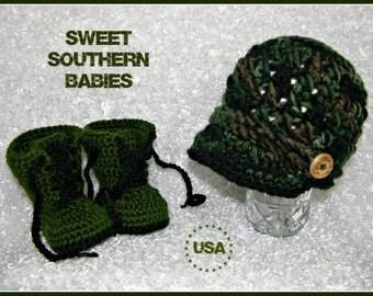 Baby Camo Hat / Boots / Pants - Boy - Girl - Photo Prop