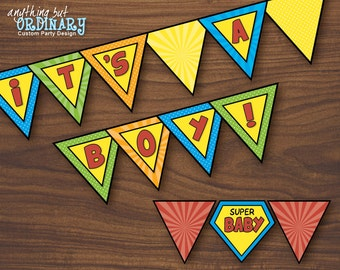 Its A Boy Superhero Banner, DIY Super Hero Baby Shower Flags, INSTANT DOWNLOAD, printable digital file