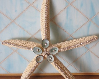 Decorated Starfish w/ Limpet Seashells & Swarovski Crystals  - Embellished Starfish - Coastal Home Decor - Beach Wedding