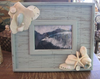 Blue Bamboo Distressed Seashell Picture Frame - Shell Frame -Turquoise Shell Picture Frame - Beach wedding