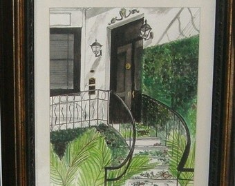 Steps of Savannah  - Original Framed Watercolor Painting - Introductory SALE price