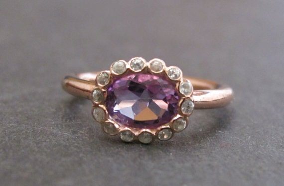 purple amethyst engagement ring halo promise ring rose gold. Black Bedroom Furniture Sets. Home Design Ideas