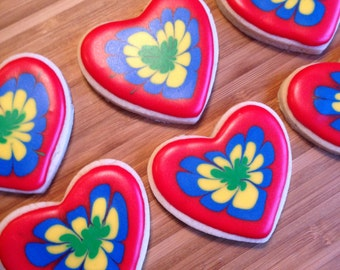 Tie dyed Heart cookies