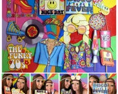 seventies photo booth props - perfect for a throw back 70s theme party or a funky retro themed disco fever party