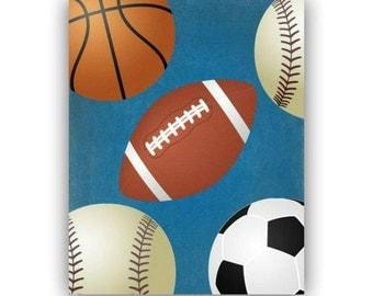 Sports Children Wall Art Print 8x10, Sports Kids Decor, Baseball, Football, Basketball,Soccer Ball, Sports Boys Room Decor, Sports Nursery