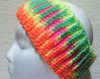 Neon Orange, Yellow, Green and Hot Pink Ribbed Headband, Ear Warmer, Adult, Teen, Child