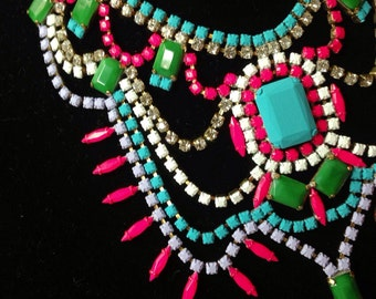 Custom Vintage Hand Painted Rhinestone Statement Necklace - Tom Binns look
