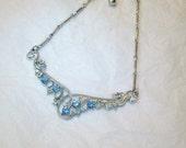 Vintage Ice Blue Sapphire Rhinestone Silver tone Necklace
