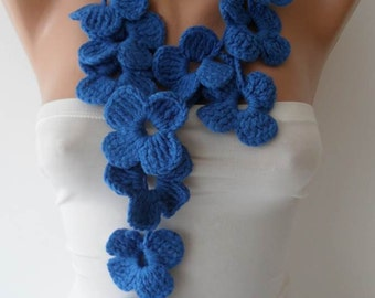 Winter Chic - Handknit flowered scarf -  Blue Scarf