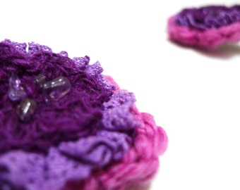 Floral hair grips, wool flower hair accessories, embellished flowers, pink/ purple flowers, xmasetsyuk