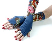 Embroidered Flowers Blue gloves, mittens, arm warmers - vintage, stempunk, goth, victorian, floral, gift, Yoga, Bohemian, eco friendly