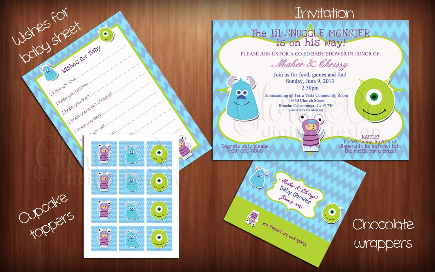monsters inc baby shower bundle ready to print