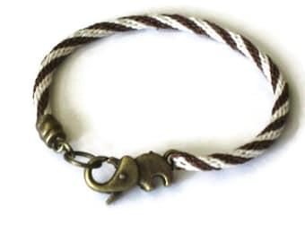 Elephant clasp bracelet - kumihimo braid - espresso brown and ivory