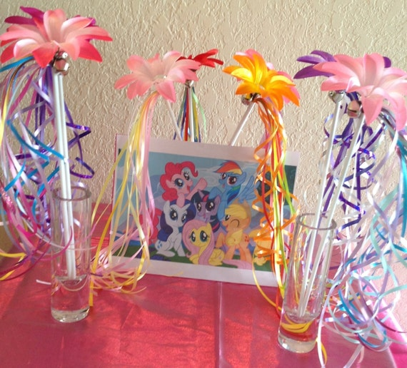 8 My Little Pony Party Favors, My Little Pony Birthday Favors, My Little Pony Wands, Princess Party Favors, Fairy Princess Wands