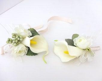 Ivory Calla Lily Corsage Set, Ivory Calla Lily Boutonniere & Ivory Calla Lily wrist Corsage