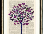 Butterfly Tree 2  - vintage book page print printed on a page from a late 1800s Dictionary  Buy 3 get 1 Free