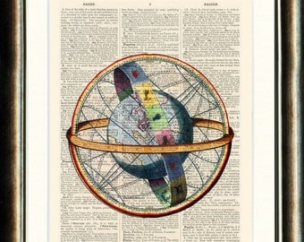 Celestial Globe - Upcycled vintage image printed on a late 1800s Dictionary page Buy 3 get 1 FREE