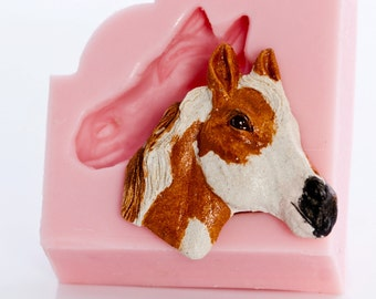 Horse Mold, Silicone Mold use to make horse embellishment out of polymer clay, epoxy resin, pmc, hot glue, wax, soap, plaster and more (913)