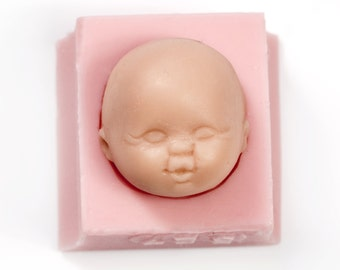 Baby face silicone mold - sculpy face mold - polymer clays - la doll clay mold - cold porcelain clay baby mold - soap baby mold (527)