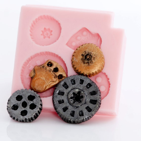 Gears Steampunk Food Safe Mold - Fondant gear mold - candy steampunk mold - gears chocolate mold - steampunk silicone mould (803)