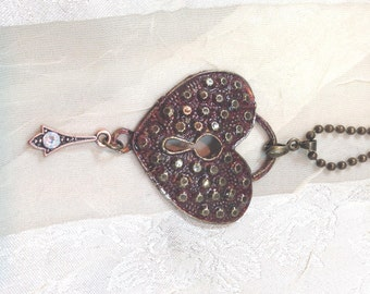 Keyhole Heart Necklace With Crystal Drop and Textured Patina