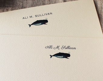 Personalized Notecards Whale Set of 24 Nautical Notecards With Envelopes