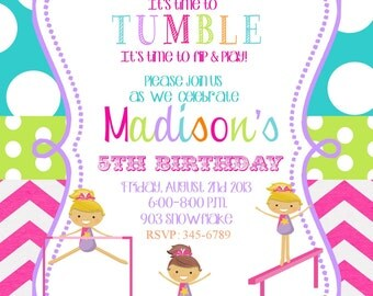 12 Gymnastics  Birthday Party invitations with envelopes