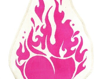 PATCH *Burning Heart* pink oder berry on cotton crème