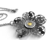 Yellow Flower Necklace, Silver Filigree Jewelry, Stainless Steel Chain, Yellow Necklace, customizable center color