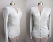 1960s Vintage Sweater Silver Cardigan 60s Sweater Pockets Ribbed / Medium