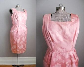 1950s Dress Vintage Cocktail Dress Pink 50s Dress Satin Brocade / Large
