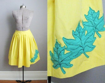 1950s Vintage Skirt Yellow Cotton 50s Skirt Pleated Maple Leaf / Small