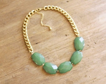 Sea Green Single Strand Statement Necklace on Chunky Gold Chain, Green Statement Necklace
