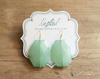 Aqua Mint Statement Earrings, Mint Beaded Earrings, Mint Dangle Earrings