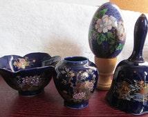 VALENTINESALE Cobalt Blue Set of Four Floral Design Bowl, Small Vase, Bell, and Egg
