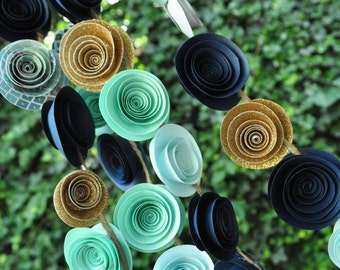 Wedding Garland Paper Flower Garland Mint, Navy Gold 24 feet