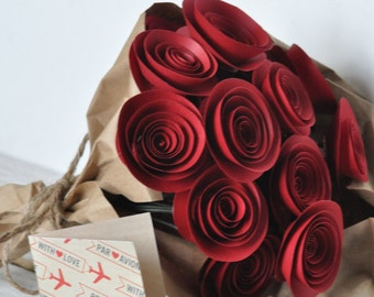 Valentines day bouquet, red paper roses 24 Red Paper Flowers on Stems- Bouquet of Paper Flowers